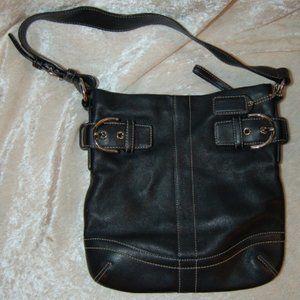VINTAGE COACH 1453 Black Leather Soho Purse